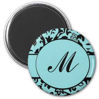 Damask Monogram 6 Cm Round Magnet