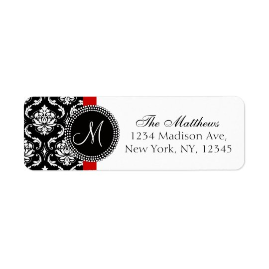 Damask Monogram Address Labels Red Black White