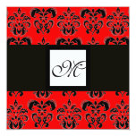 DAMASK MONOGRAM,black and white, red Personalised Announcement