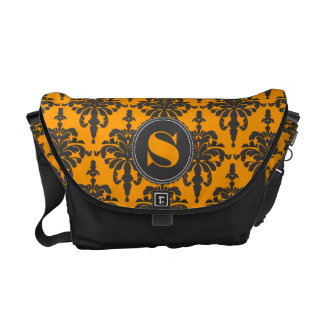 Damask Monogram Black Gold Courier Bags