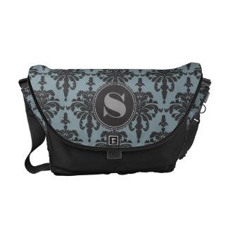 Damask Monogram Black Steel Blue Messenger Bag
