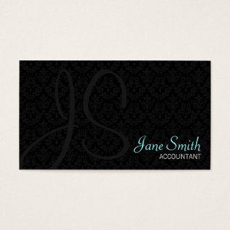 Damask Monogram Business Cards