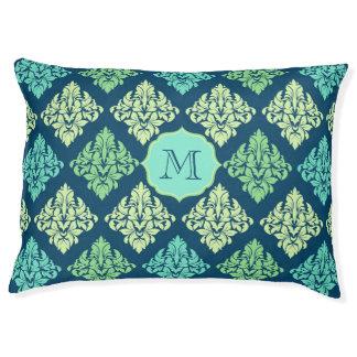 Damask monogram dog bed Blue and green