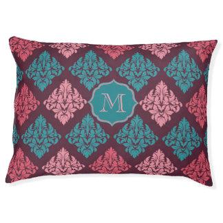 Damask monogram dog bed Burgundy and Teal color