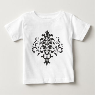 Damask Monogram in Elegant Gray and Black Baby T-Shirt