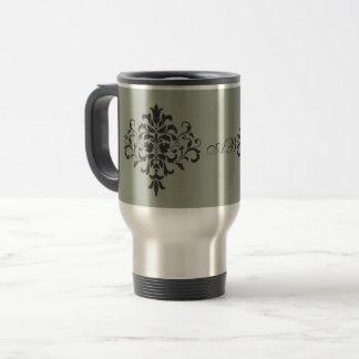 Damask Monogram in Elegant Gray and Black Travel Mug