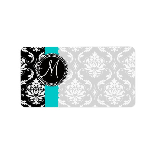 Damask Monogram Labels with Blue Stripe Dots