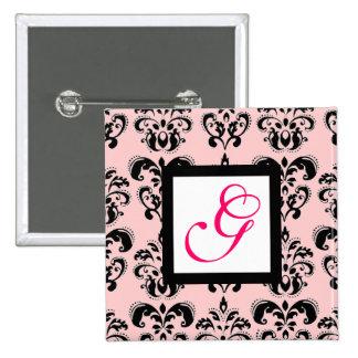 DAMASK MONOGRAM,pink fuchsia 15 Cm Square Badge