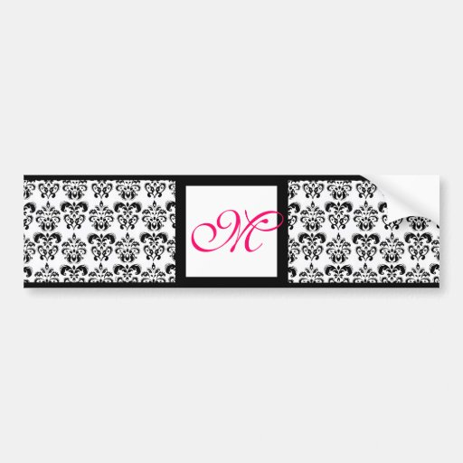 DAMASK MONOGRAM,pink fuchsia Bumper Stickers