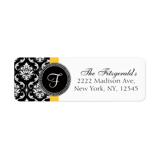 Damask Monogram Wedding Address Labels Yellow