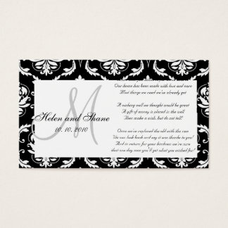 Damask Monogram Wedding Wishing Well Card