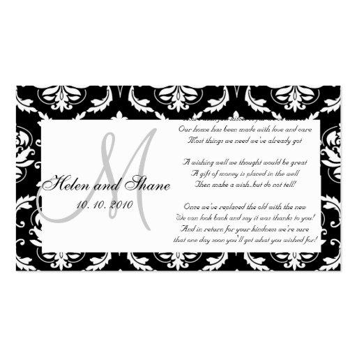 Damask Monogram Wedding Wishing Well Card Business Cards