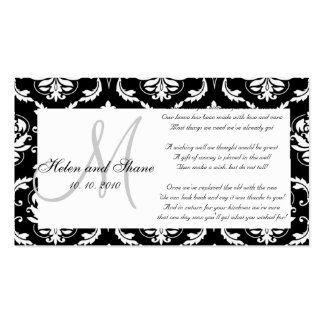 Damask Monogram Wedding Wishing Well Card Pack Of Standard Business Cards