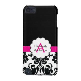 Damask Monogrammed IPod Touch Case Black Pink