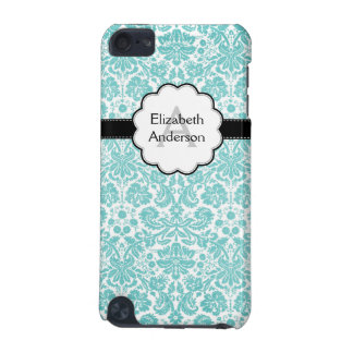 Damask Monogrammed IPod Touch Case Blue
