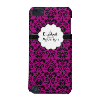 Damask Monogrammed IPod Touch Case Hot Pink