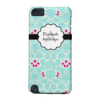 Damask Monogrammed Turquoise iPod Touch (5th Generation) Cases