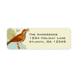 Damask Musical Vintage Bird Return Address Return Address Label