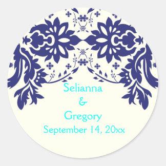 Damask navy blue, aqua, wedding Save the Date Round Sticker