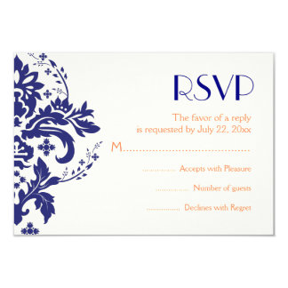 Damask navy blue, coral wedding RSVP reply card