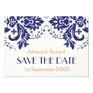 Damask navy blue, coral wedding Save the Date Card