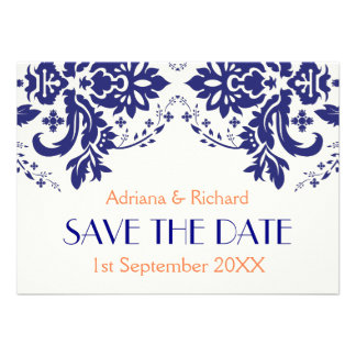Damask navy blue, coral wedding Save the Date Custom Announcements