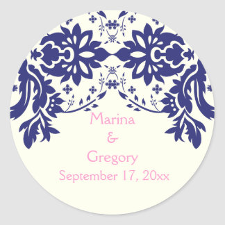 Damask navy blue, pink, wedding Save the Date Classic Round Sticker