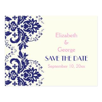 Damask navy blue, pink wedding Save the Date Postcard