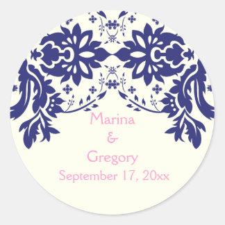 Damask navy blue, pink, wedding Save the Date Classic Round Sticker