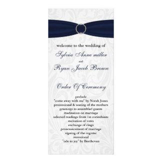"damask ""navy blue"" Wedding program Full Color Rack Card"