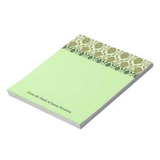 Damask, NOUVEAU PRINT in Olive & Spring Green Notepad