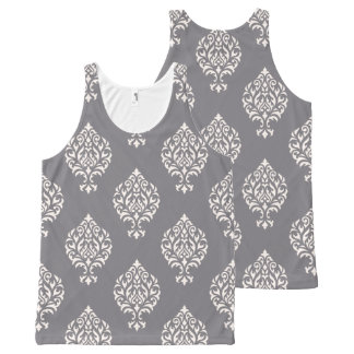 Damask Ornamental Pattern Cream on Grey All-Over Print Tank Top