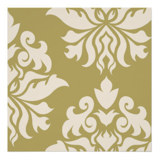 Damask Ornate Montage II Cream on Gold Poster