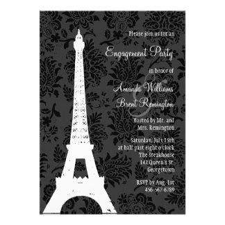 Damask Paris Engagement Party Custom Announcement