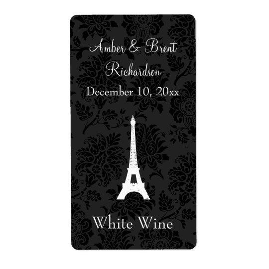 Damask Paris Wine Label Shipping Label