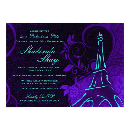 Damask Parisienne: Electric Teal & Purple Birthday Invite