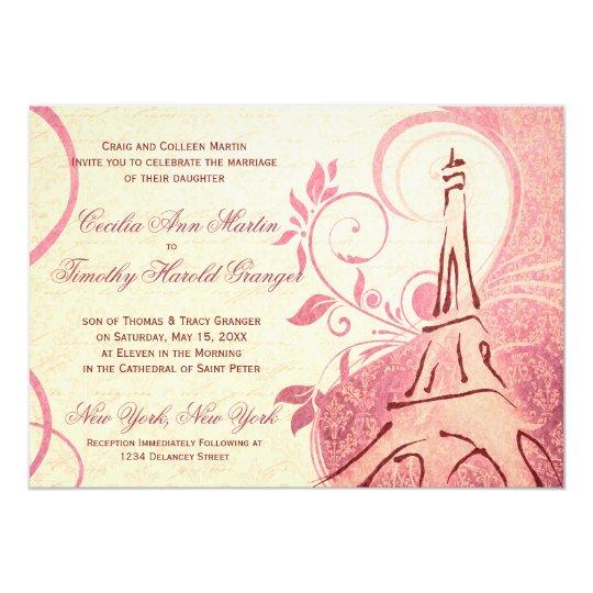 Damask Parisienne - Honeysuckle & Ivory Wedding Card