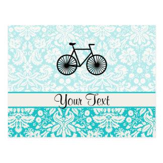 Damask Pattern Bicycle; Teal Postcard