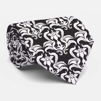 Damask Pattern Black and White Necktie