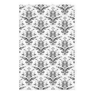 Damask Pattern Black & White, Gray Stationery Design
