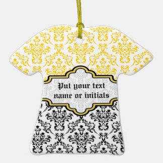 Damask pattern black yellow white custom ornament