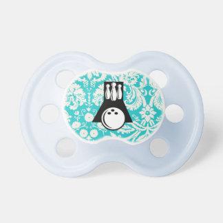 Damask Pattern Bowling Baby Pacifier
