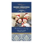 Damask Pattern Family Holiday Photocard (blue) Customized Photo Card