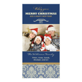 Damask Pattern Family Holiday Photocard (blue) Custom Photo Card