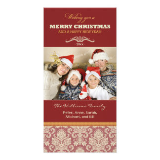 Damask Pattern Family Holiday Photocard (red) Custom Photo Card