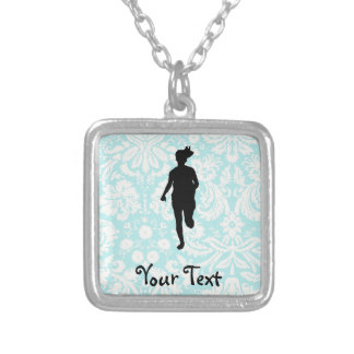 Damask Pattern; Girl Running Necklace