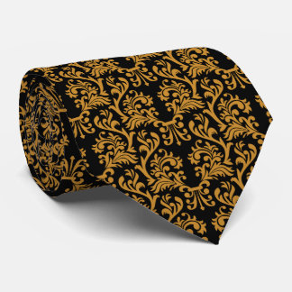 Damask Pattern Gold and Black Tie