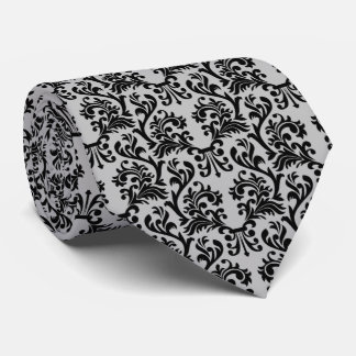 Damask Pattern Gray and Black Tie