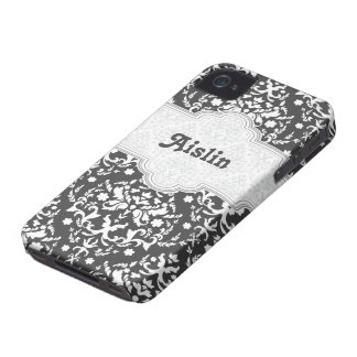 Damask pattern grey, white cute girly iPhone 4 covers