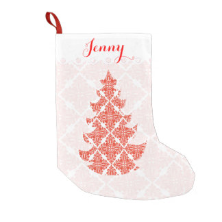 Damask Pattern  Holiday Tree Small Christmas Stocking